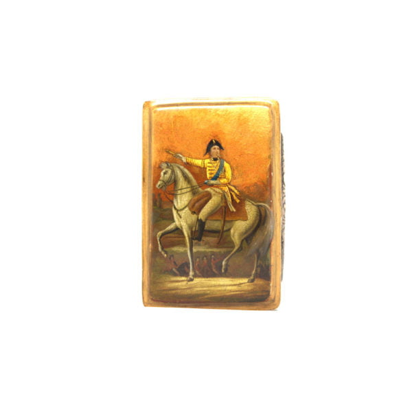 military man upon horse back silver and lacquer snuff box