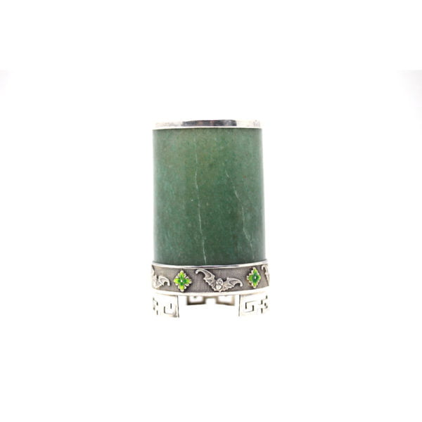 Chinese jade hardstone brush pots mounted on silver.