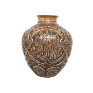 Persian copper etched decorative vase