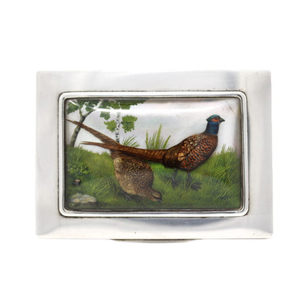 Essex crystal silver game bird jewellery box