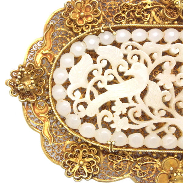 Cutshing Jade and silver gilt filigree decorative plaque