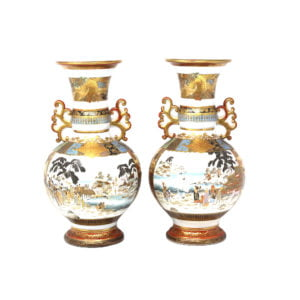Japanese Meiji period kutani decorative vases with unusual lobed ears.