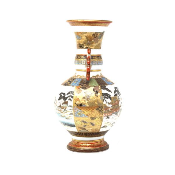 Japanese Meiji period kutani decorative vases with unusual lobed ears.