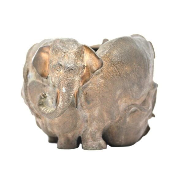Meiji period Japanese bronze elephant jardiniere