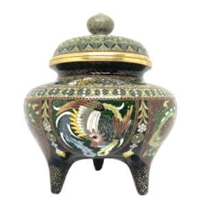 cloisonne tripod decorative enamel censer attributed to Namikawa Yasuyuki
