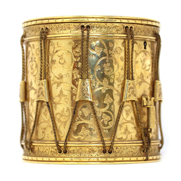 Rare drum cigarette case mounted with a Sevres plaque