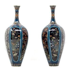 Japanese Cloisonne Vase Pair – Ota Hyozo